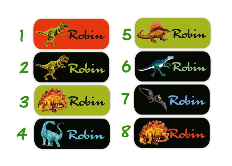 eckige Namensaufkleber, Motiv: Dinos, T-Rex, Langhals, Stegosaurus, hochwertige, umweltfreundliche PVC-freie Folie