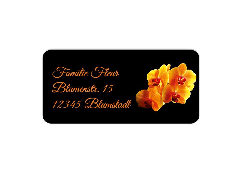 eckige Adressaufkleber mit oranger Orchidee, auf umweltfreundlichen PVC-freien selbstklebenden Papier, wasserfest