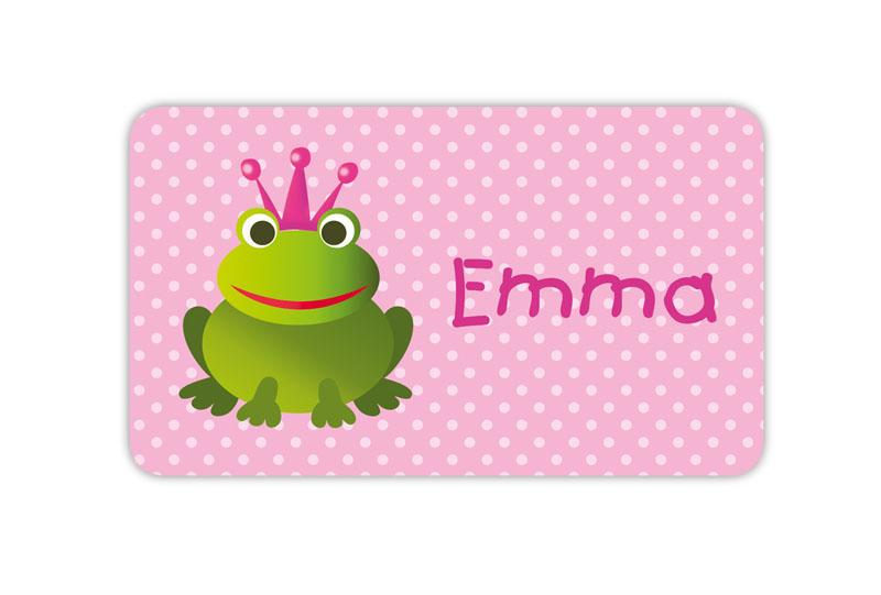 Brotdosenaufkleber 12 x 7 cm  - Motiv: Froschkönigin mit Pünktchen - hochwertige PVC-freie Folie, ungiftige Farben - mit Namen personalisierbar