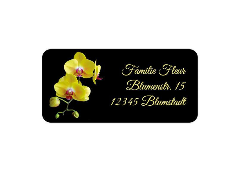 eckige Adressaufkleber mit gelber Orchidee, auf umweltfreundlichen PVC-freien selbstklebenden Papier, wasserfest