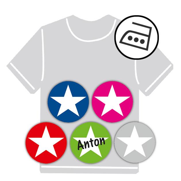 dauerhafte runde Bügeletiketten - auch personalisierbar mit Namen oder Initialen - für Kindergarten u. Schule - PVC frei -  Motiv: Stern