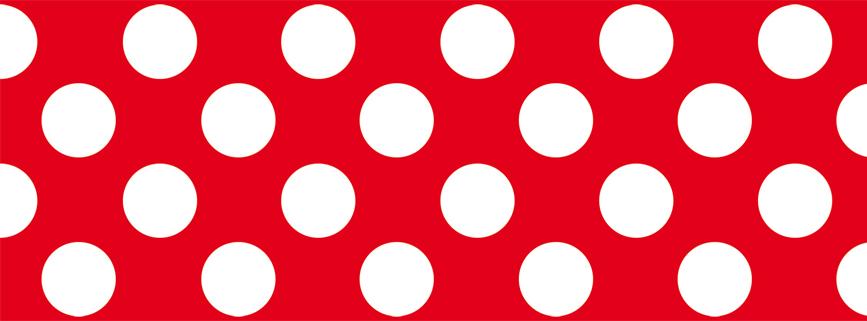 nachhaltige rote ECO Vliesbordüre mit weißen Punkten - Sale - B-Ware
