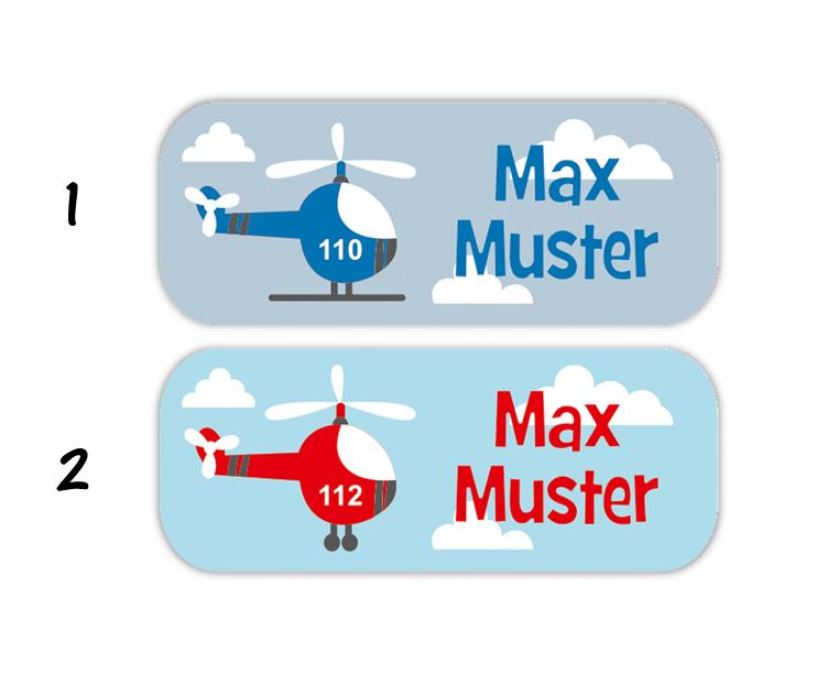 eckige Namensaufkleber, Motiv: Hubschrauber,  hochwertige, umweltfreundliche PVC-freie Folie