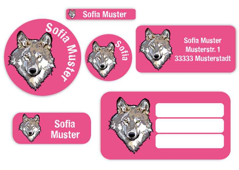 Schulaufkleber-Set - Motiv: Wolf - Namensaufkleber, Stifteaufkleber, Adressaufkleber, Heftaufkleber,  hochwertige, umweltfreundliche PVC-freie Folie