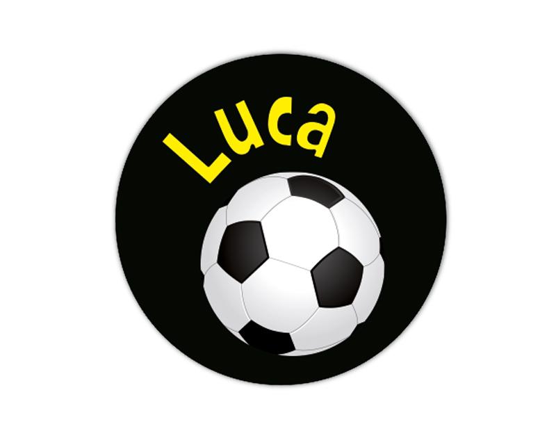 runde Namensaufkleber: Fußball