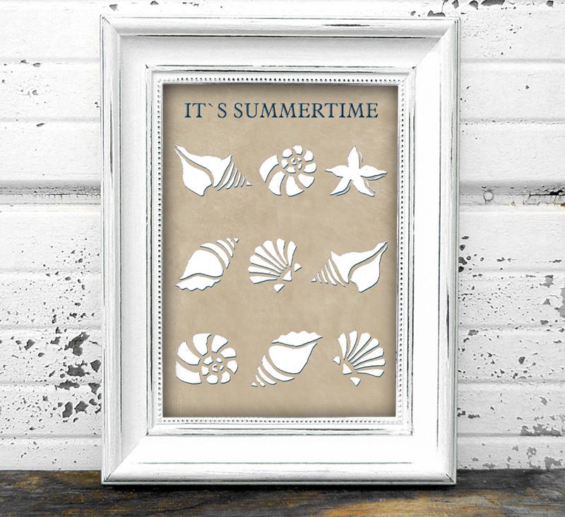 maritimes Poster - It´s Summertime - Muscheln, in Größe A4 bis A0 möglich, personalisierbarer Text, umweltfreundlich und ungiftige Farben