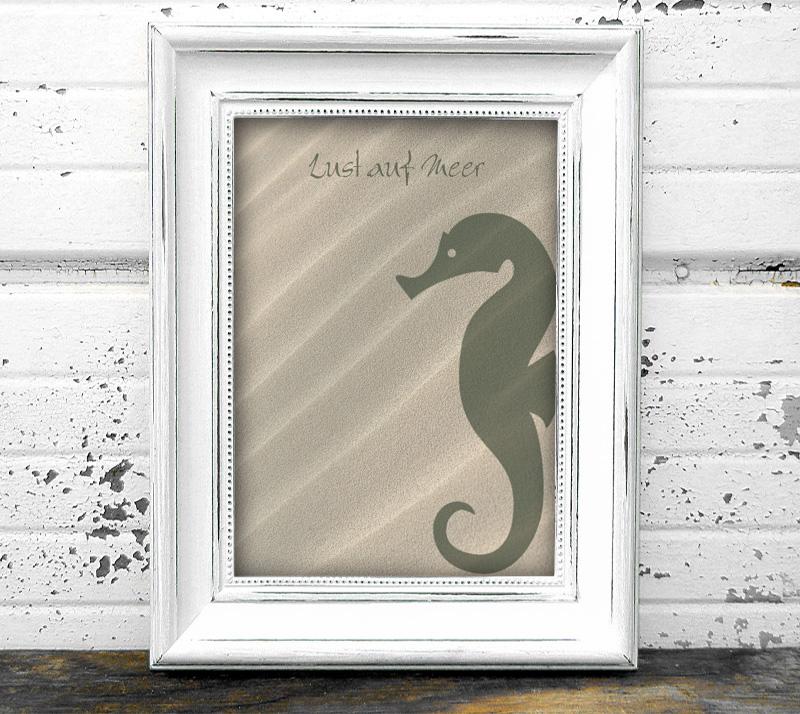 maritimes Poster - Lust auf Meer - Seepferdchen, in Größe A4 bis A0 möglich, personalisierbarer Text, umweltfreundlich und ungiftige Farben