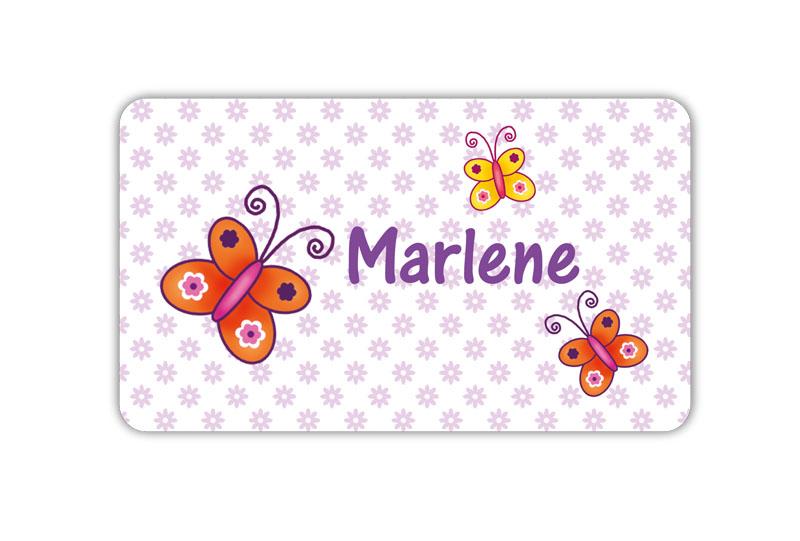 Brotdosenaufkleber 12 x 7 cm  - Motiv: Schmetterlinge mit Blümchen - hochwertige PVC-freie Folie, ungiftige Farben - mit Namen personalisierbar