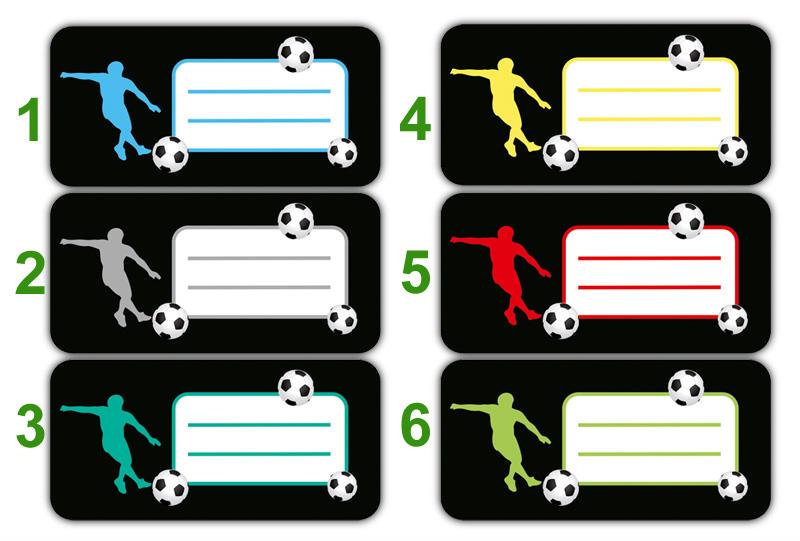 Heftaufkleber zum selber beschriften - Motiv: Fußballspieler mit Fußall - hochwertige, umweltfreundliche PVC-freie Folie