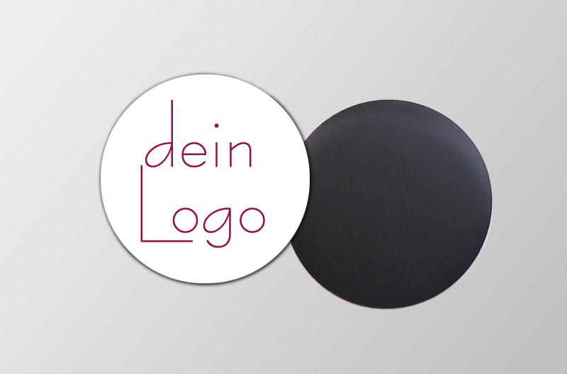 mit deinem Logo personalisierbare Magnetfotos - rund - ideal als Werbegeschenk, für Messen, Märkten,  und als Giveaway