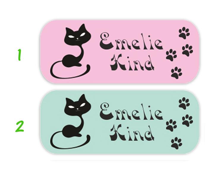 eckige Namensaufkleber, Motiv: Katze mit Fußspuren,  hochwertige, umweltfreundliche PVC-freie Folie