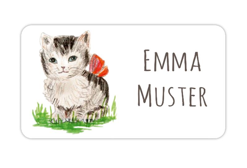 eckige Namensaufkleber, Motiv: Kätzchen - handgemaltes Motiv,  hochwertige, umweltfreundliche PVC-freie Folie, spülmaschinenfest, ungiftige Farben