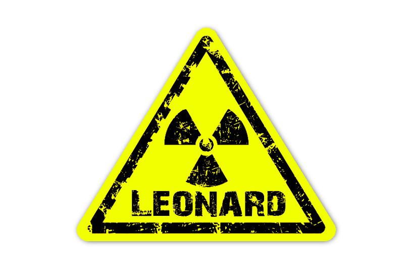 Form Neon Namensaufkleber:  Achtung! Radioaktiv - auffällig durch intensive Leuchtwirkung