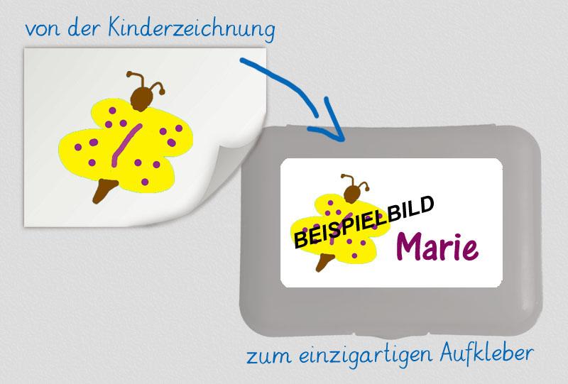 einzigartige Brotdosenaufkleber personalisierbar mit einer eigenen Kinderzeichnung,  hochwertige, umweltfreundliche PVC-freie Folie