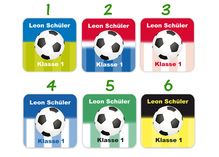 eckige Namensaufkleber, Motiv: Fußball,  hochwertige, umweltfreundliche PVC-freie Folie