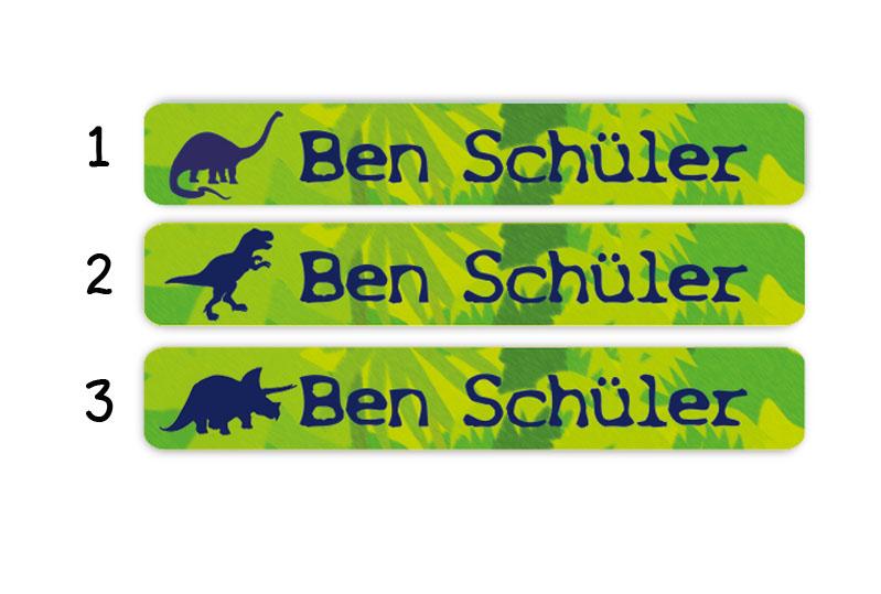 Stifteaufkleber 0,7 x 4,5 cm - hochwertige PVC-freie Folie - mit Namen personalisierbar - Motiv: Dinos