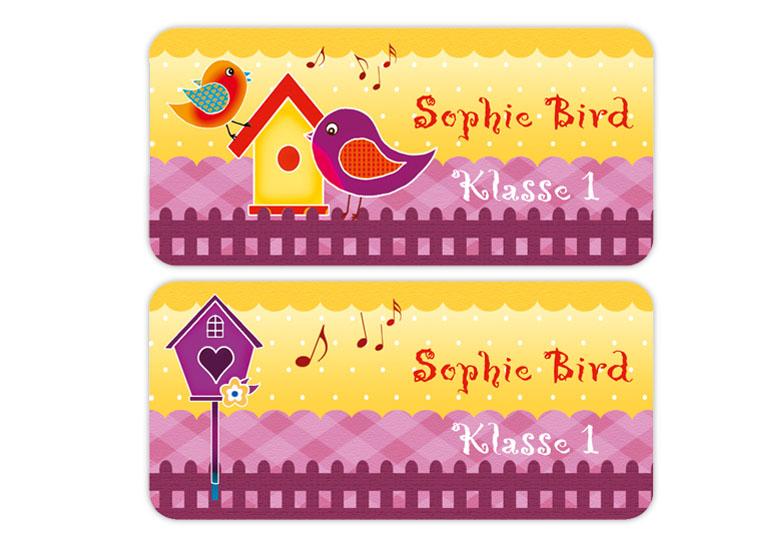 eckige Namensaufkleber, Motiv: bunte Vögel,  hochwertige, umweltfreundliche PVC-freie Folie