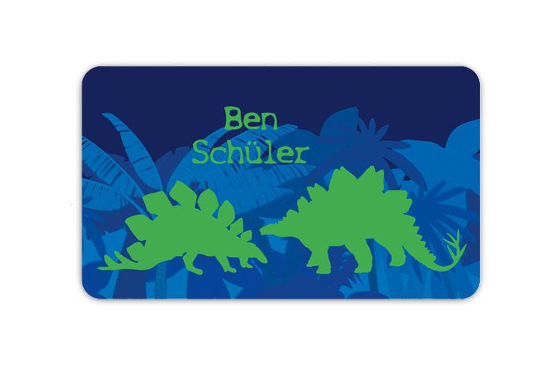 Brotdosenaufkleber 12 x 7 cm  - Motiv: Stegosaurus - Dinos - hochwertige PVC-freie Folie, ungiftige Farben - mit Namen personalisierbar