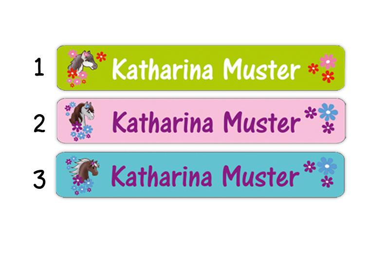 Stifteaufkleber 0,7 x 4,5 cm - hochwertige PVC-freie Folie - mit Namen personalisierbar - Motiv: Pony mit Blumen