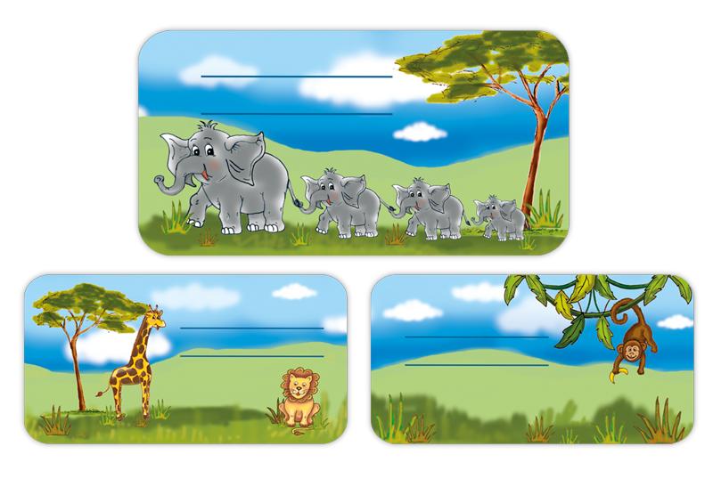 Schulaufkleber mit handgemalten Motiven: Elefanten, Giraffe, Löwe und Äffchen