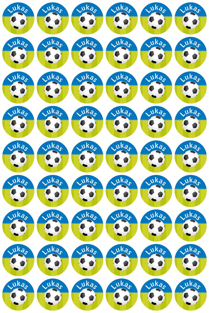 Namensaufkleber: Fußball blau-grün