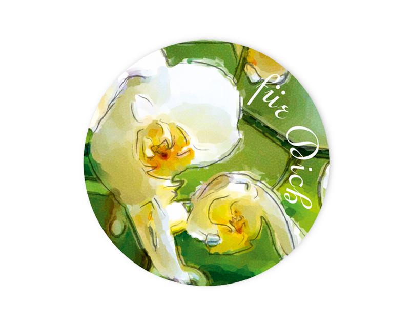 """Geschenkaufkleber - """"Für Dich"""" Orchidee -  im Aquarellstil - für Dankesbriefe, Briefe, Geschenke, Einladungen und kleinen Aufmerksamkeiten im Alltag"""