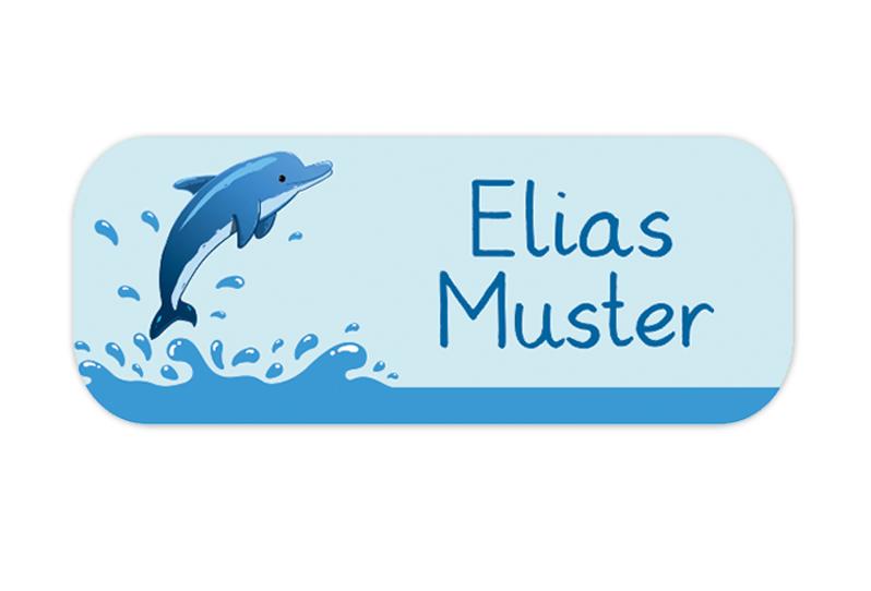 eckige Namensaufkleber, Motiv: Delfin,  hochwertige, umweltfreundliche PVC-freie Folie