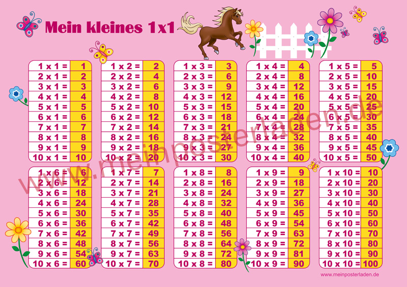 1 x 1 Lernposter für die Grundschule mit Pferd und Blümchen, optional laminiert