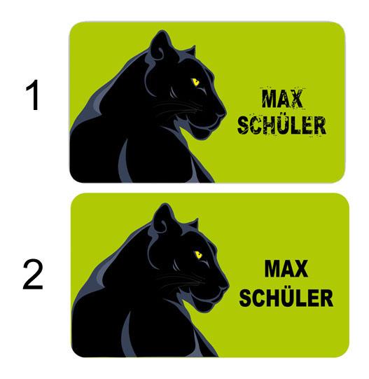 Brotdosenaufkleber 12 x 7 cm  - Motiv: schwarzer Panther - hochwertige PVC-freie Folie, ungiftige Farben - mit Namen personalisierbar