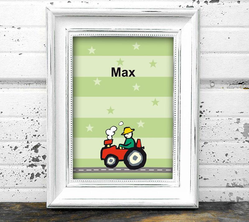 Namensprint - Traktor - personalisierbar mit Name des Kindes, tolle Geschenkidee