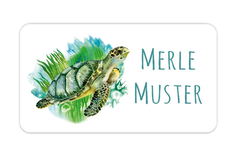 eckige Namensaufkleber, Motiv: Meeresschildkröte - watercolor,  hochwertige, umweltfreundliche PVC-freie Folie, spülmaschinenfest, ungiftige Farben