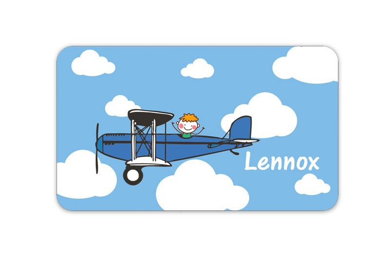 Brotdosenaufkleber 12 x 7 cm  - Motiv: Flugzeug - hochwertige PVC-freie Folie, ungiftige Farben - mit Namen personalisierbar