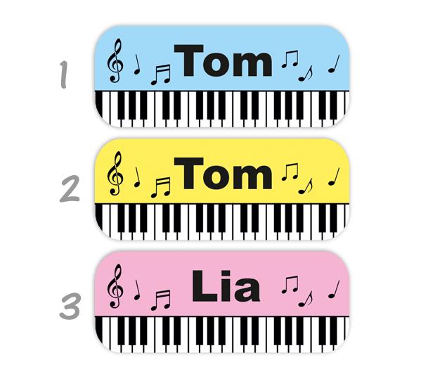 eckige Namensaufkleber, Motiv: Klavier, hochwertige, umweltfreundliche PVC-freie Folie