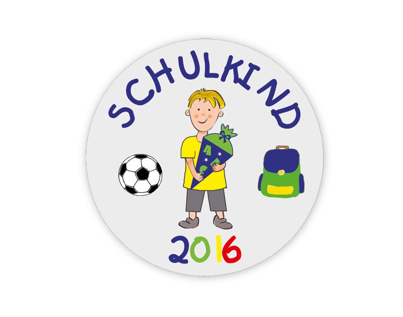 Aufkleber für die Einschulung: Schulkind - Junge - personalisierbar mit Wunschtext - als Gastgeschenk, für Einladungen, Schulanfang, Einschulung,