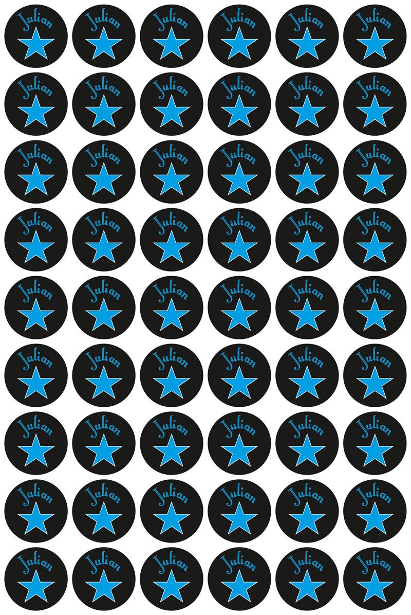 Namensaufkleber: Sterne - blau