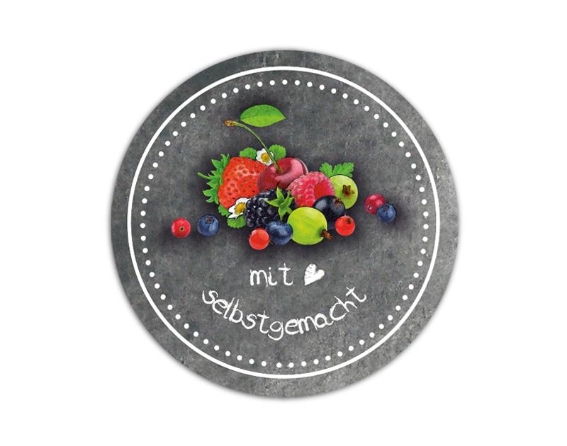 Marmeladenaufkleber Tafeloptik Chalkboard - Früchte - für deine selbstgemachten Konfitüren & Marmeladen - umweltfreundlich - wasserfest