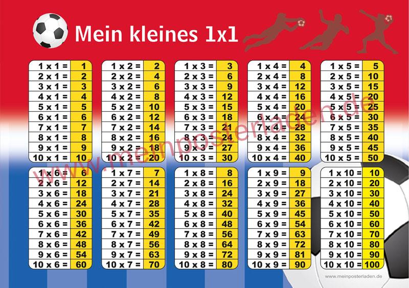 1 x 1 Lernposter für die Grundschule Fußball, optional laminiert
