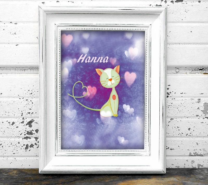 Namensprint mit niedlichem Kätzchen und Herzchen - personalisierbar mit Name des Kindes, tolle Geschenkidee