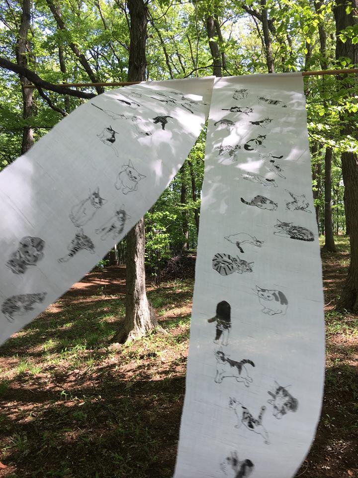 手織り麻に墨の手描き暖簾