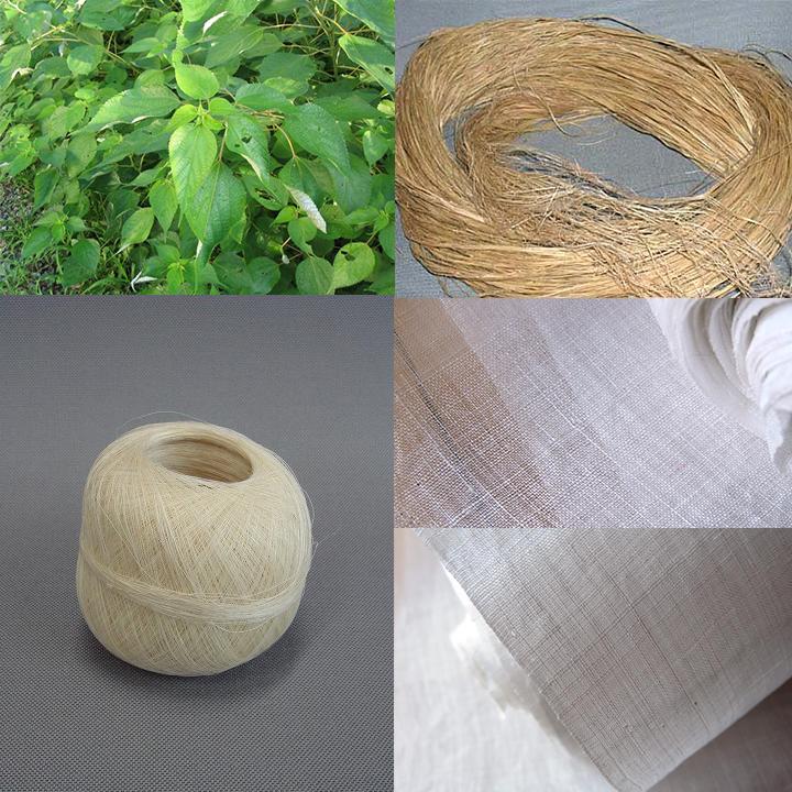 手績み手織りの苧麻の素材