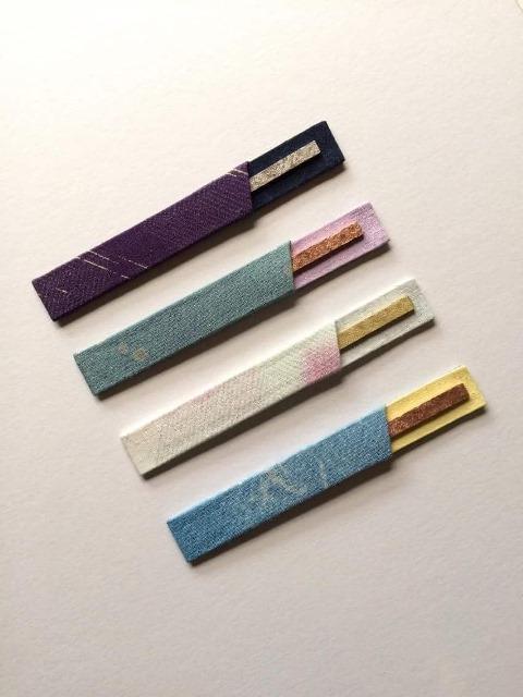 菓子切りを収める鞘も染めました 菓子切り(銀,銅,真鍮,錫引き)もセットでどうぞ