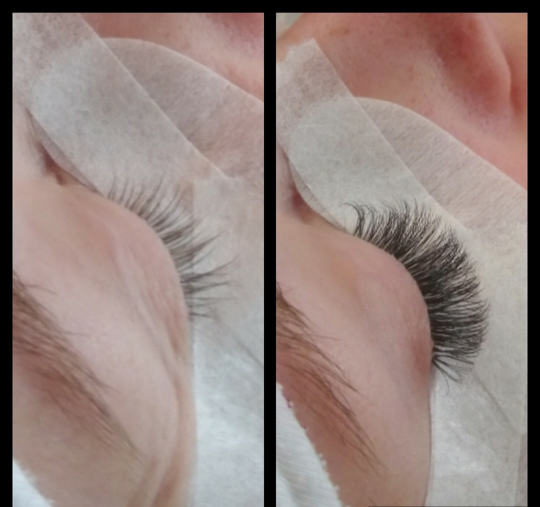 Volume lashes voor & na