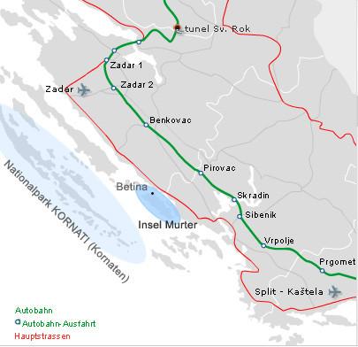 Kroatien - Übersichtskate Kornaten und Murter