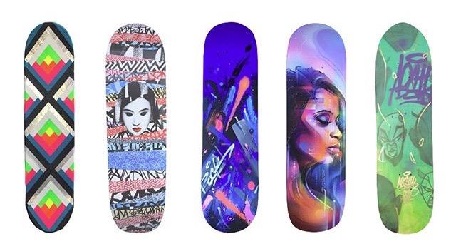 Planches de skate customisées par MAYA HAYUK - KENDO - MR CENZ  entre autre pour City of talents à Toulouse.