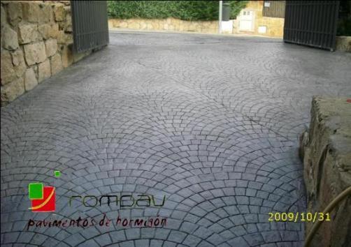 Soleras de hormigón estampado precio  Madrid, foto hormigon impreso adoquin abanico, color gris pizarra
