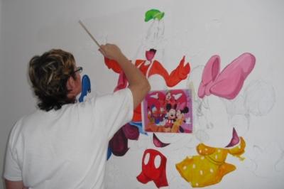 Entstehung der Wandmalerei Walt Disney
