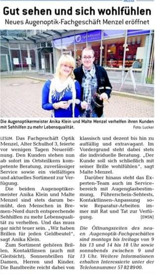Bremer Anzeiger berichtet über Optik Menzel