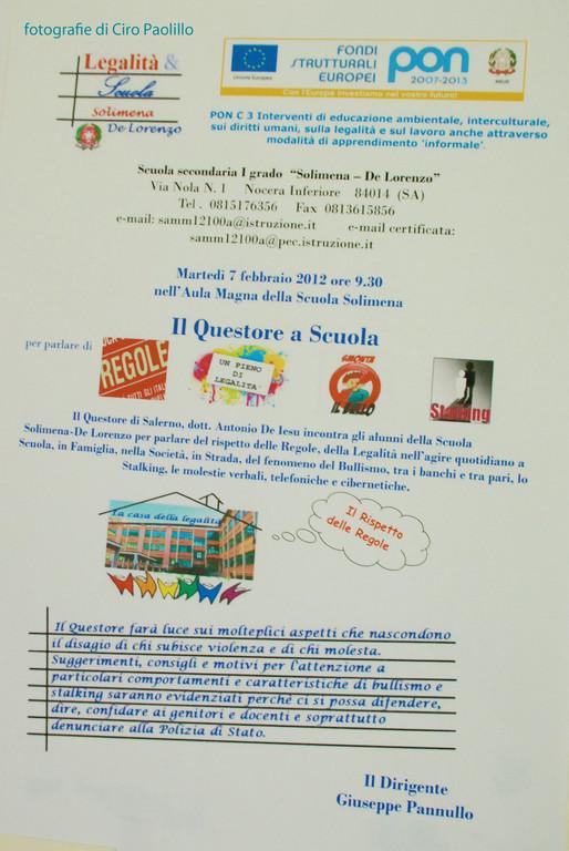 """locandina evento """"Il Questore a Scuola"""""""