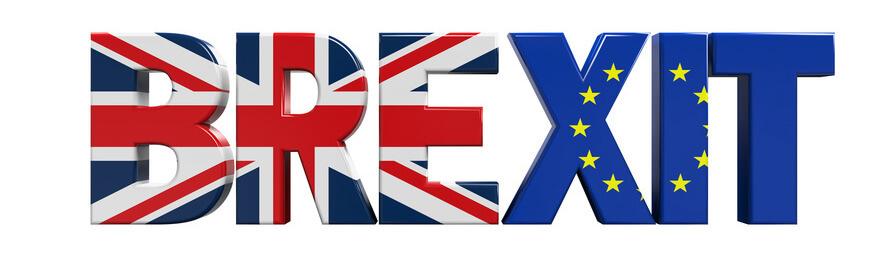 Brexit mit Flagge von Großbritannien und Europa