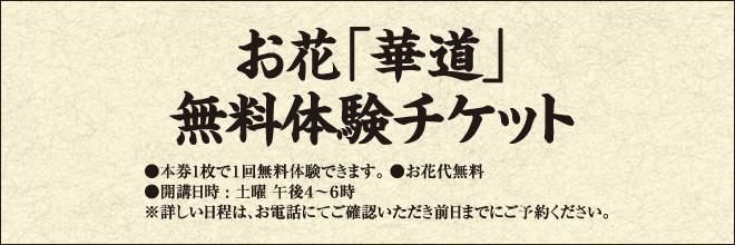 お花「華道」 無料体験チケット